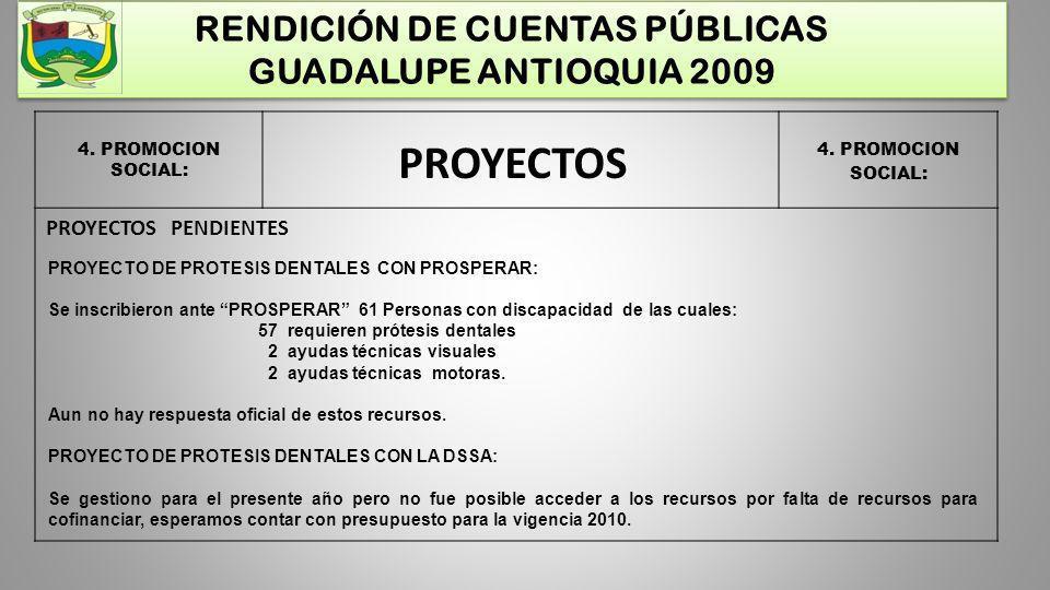 RENDICIÓN DE CUENTAS PÚBLICAS GUADALUPE ANTIOQUIA 2009 4. PROMOCION SOCIAL: PROYECTOS PROYECTO DE PROTESIS DENTALES CON PROSPERAR: Se inscribieron ant