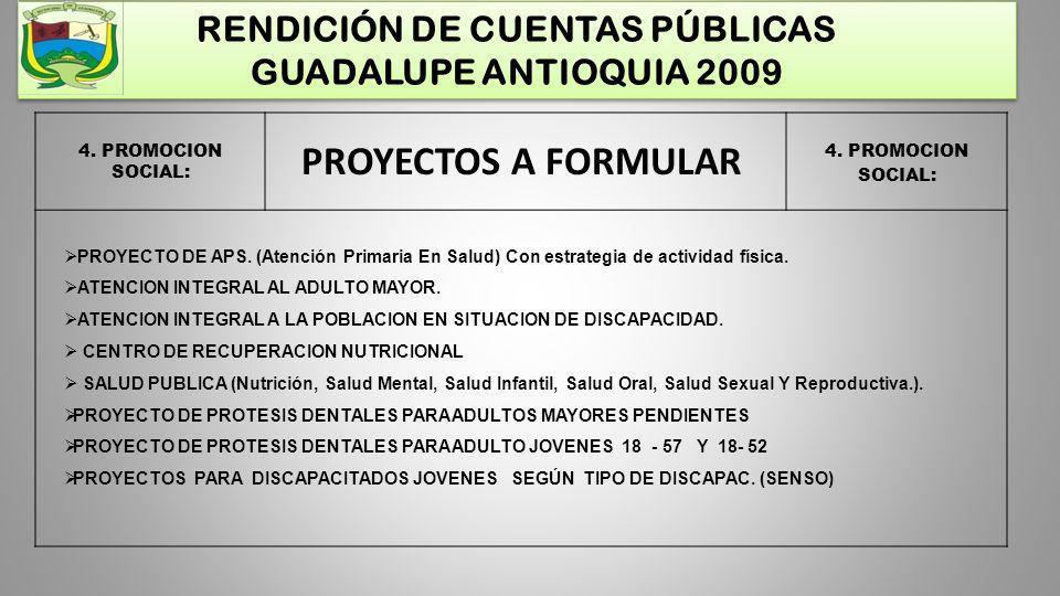 RENDICIÓN DE CUENTAS PÚBLICAS GUADALUPE ANTIOQUIA 2009 4. PROMOCION SOCIAL: PROYECTOS A FORMULAR PROYECTO DE APS. (Atención Primaria En Salud) Con est