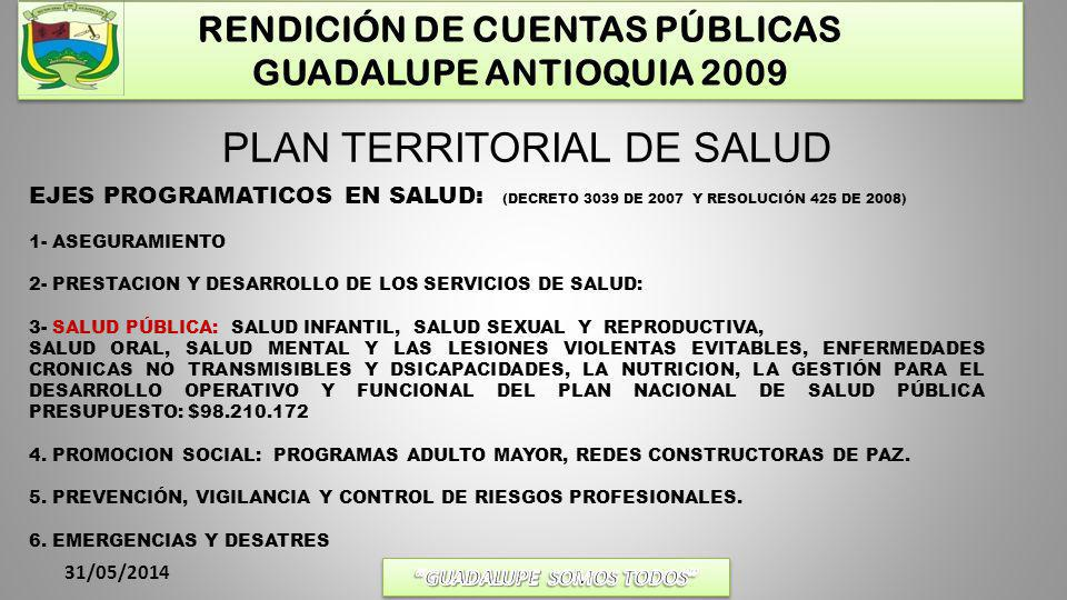 RENDICIÓN DE CUENTAS PÚBLICAS GUADALUPE ANTIOQUIA 2009 31/05/2014 ASEGURAMIENTO: POBLACION TOTAL6.659 REGIMAN SUBSIDIADO4.705 POBLACION VINCULADOS MAS CONTRIBUTIVO1954 DISTRIBUCIÓN POBLACIÓN EN ASEGURAMIENTO SUBSIDIADOVINCULADOSCONTRIBUTIVOPOBLACION TOTAL 470586910856659 META: Mantener 4.613 personas Afiliadas al Régimen Subsidiado.