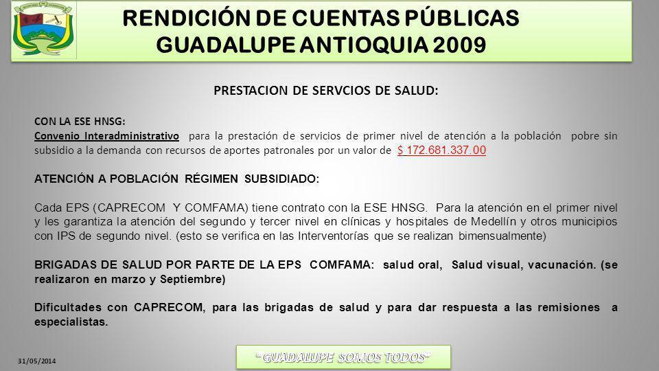 31/05/2014 RENDICIÓN DE CUENTAS PÚBLICAS GUADALUPE ANTIOQUIA 2009 PRESTACION DE SERVCIOS DE SALUD: CONVENIO DE SALUD PUBLICA (30.321.187$) EJES A TRABAJAR: Las prioridades nacionales en salud.