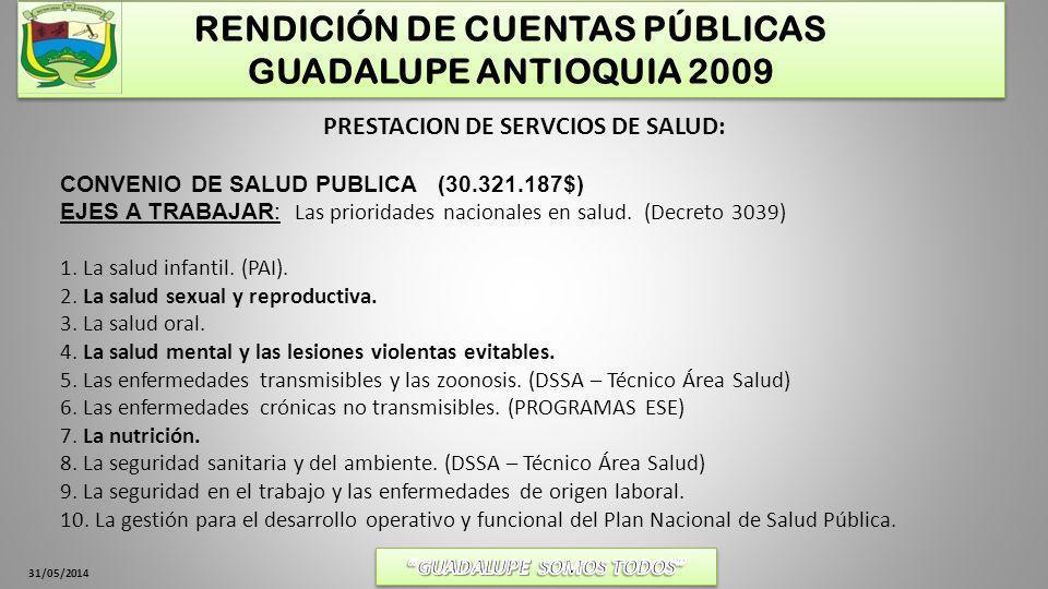 31/05/2014 RENDICIÓN DE CUENTAS PÚBLICAS GUADALUPE ANTIOQUIA 2009 PRESTACION DE SERVCIOS DE SALUD: CONVENIO DE SALUD PUBLICA (30.321.187$) EJES A TRAB