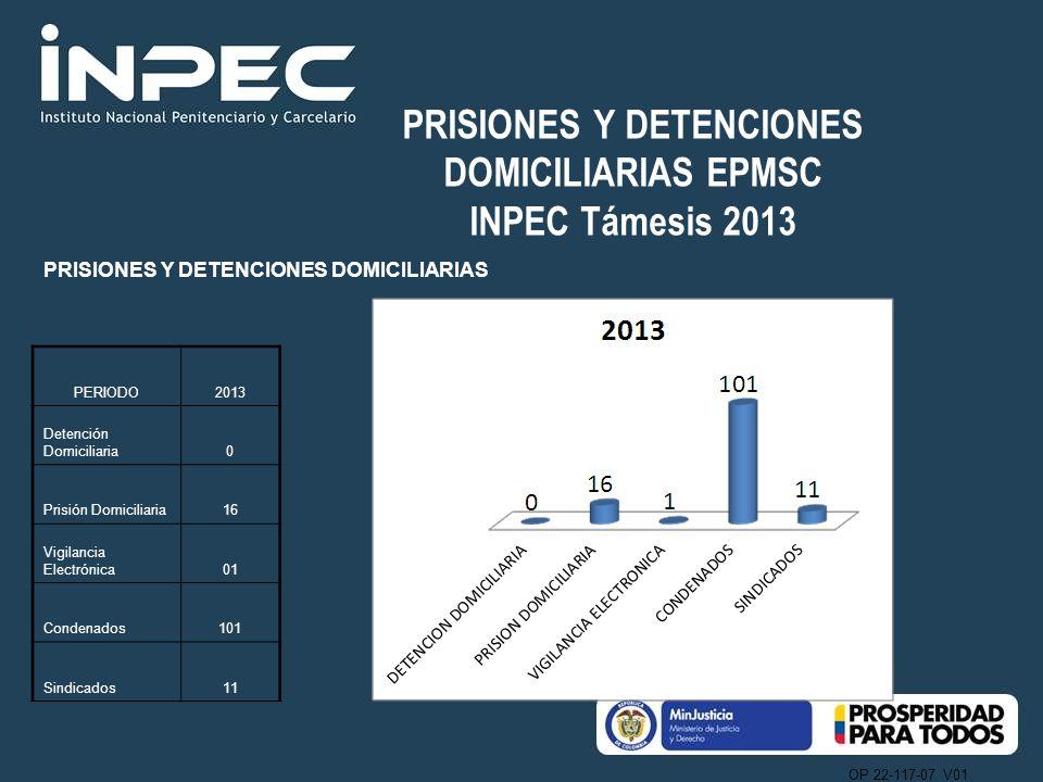 OP 22-117-07 V01 PRISIONES Y DETENCIONES DOMICILIARIAS EPMSC INPEC Támesis 2013 PRISIONES Y DETENCIONES DOMICILIARIAS PERIODO2013 Detención Domiciliar