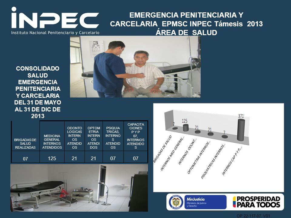 OP 22-117-07 V01 CONSOLIDADO SALUD EMERGENCIA PENITENCIARIA Y CARCELARIA DEL 31 DE MAYO AL 31 DE DIC DE 2013 BRIGADAS DE SALUD REALIZADAS MEDICINA GEN