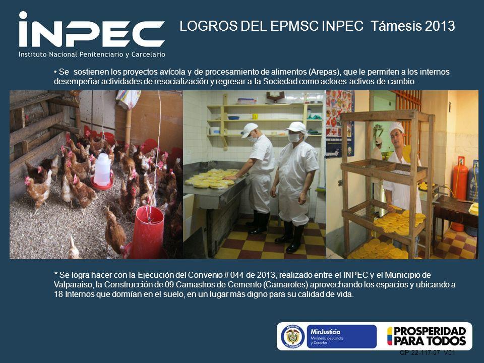 OP 22-117-07 V01 Se sostienen los proyectos avícola y de procesamiento de alimentos (Arepas), que le permiten a los internos desempeñar actividades de resocialización y regresar a la Sociedad como actores activos de cambio.