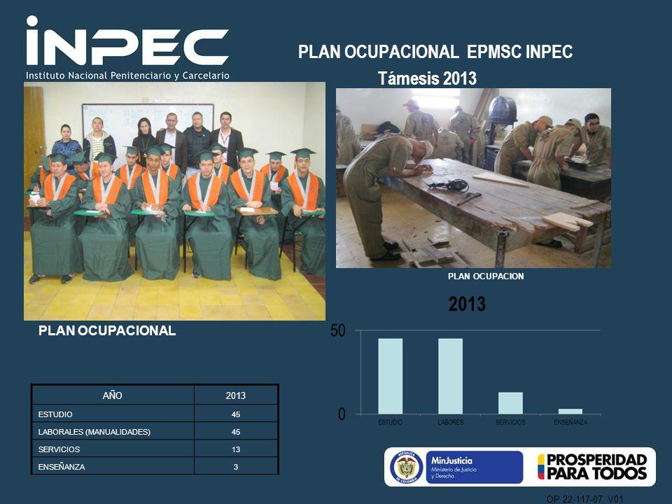 OP 22-117-07 V01 PLAN OCUPACIONAL EPMSC INPEC Támesis 2013 PLAN OCUPACIONAL AÑO2013 ESTUDIO45 LABORALES (MANUALIDADES)45 SERVICIOS13 ENSEÑANZA3 PLAN O