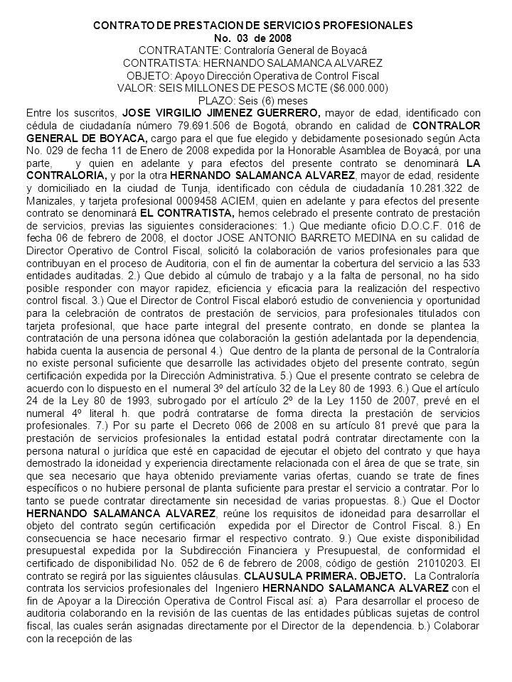 CONTRATO DE PRESTACION DE SERVICIOS PROFESIONALES No.