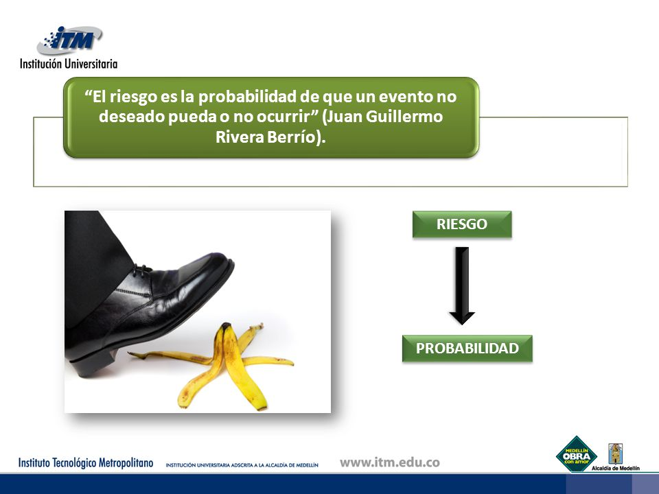 El riesgo es la probabilidad de que un evento no deseado pueda o no ocurrir (Juan Guillermo Rivera Berrío). RIESGO PROBABILIDAD