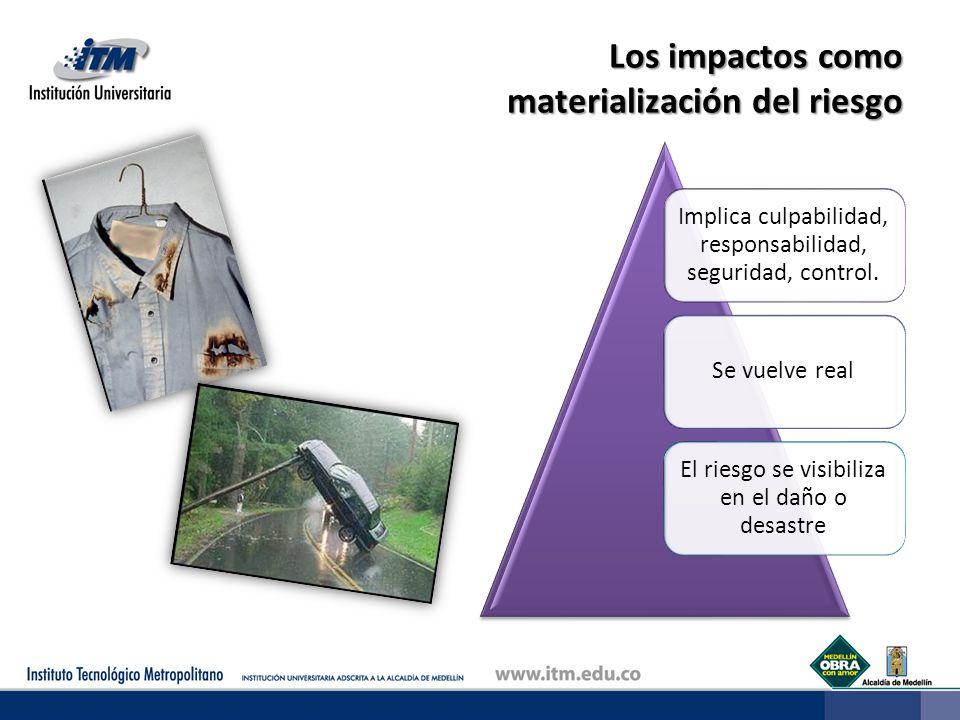 Los impactos como materialización del riesgo Implica culpabilidad, responsabilidad, seguridad, control.