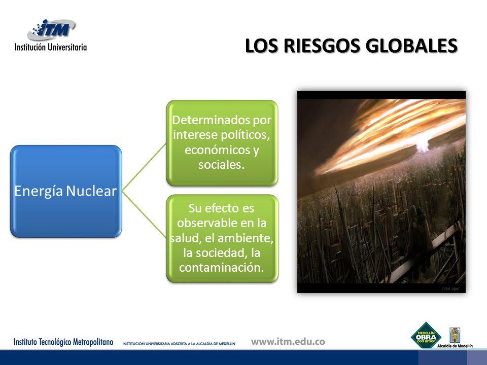 LOS RIESGOS GLOBALES Energía Nuclear Determinados por interese políticos, económicos y sociales. Su efecto es observable en la salud, el ambiente, la