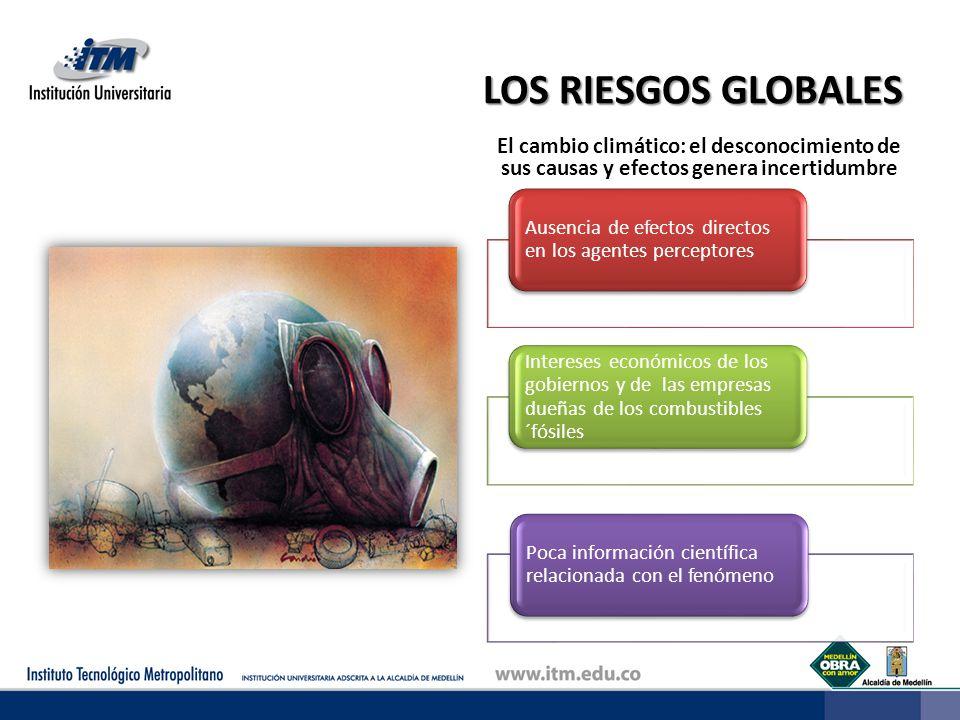 LOS RIESGOS GLOBALES El cambio climático: el desconocimiento de sus causas y efectos genera incertidumbre Ausencia de efectos directos en los agentes