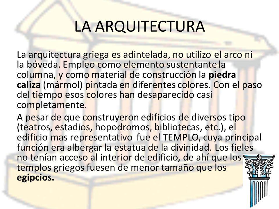 Elementos arquitectónicos fundamentales eran las columnas, estas rodeaban el edificio y sustentaban el entablamento, dintel), el FRISO, dispuesto sobre el arquitrabe y frecuentemente decorado con relieves, y finalmente, la CORNISA.