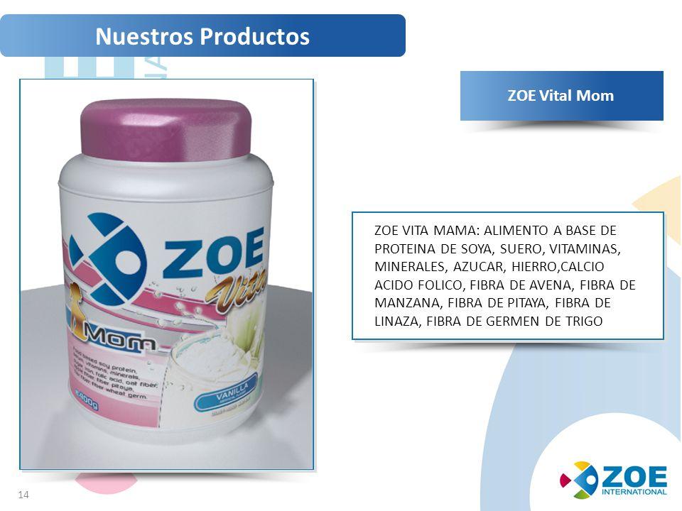 14 ZOE Vital Mom ZOE VITA MAMA: ALIMENTO A BASE DE PROTEINA DE SOYA, SUERO, VITAMINAS, MINERALES, AZUCAR, HIERRO,CALCIO ACIDO FOLICO, FIBRA DE AVENA, FIBRA DE MANZANA, FIBRA DE PITAYA, FIBRA DE LINAZA, FIBRA DE GERMEN DE TRIGO Nuestros Productos