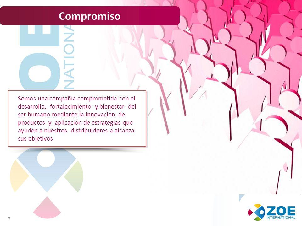 7 Compromiso Somos una compañía comprometida con el desarrollo, fortalecimiento y bienestar del ser humano mediante la innovación de productos y aplicación de estrategias que ayuden a nuestros distribuidores a alcanza sus objetivos