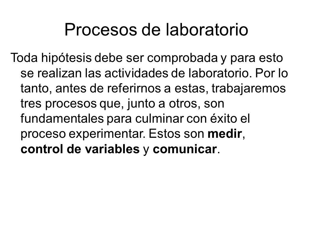 Procesos de laboratorio Toda hipótesis debe ser comprobada y para esto se realizan las actividades de laboratorio. Por lo tanto, antes de referirnos a