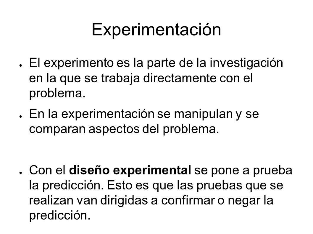 Experimentación El experimento es la parte de la investigación en la que se trabaja directamente con el problema. En la experimentación se manipulan y