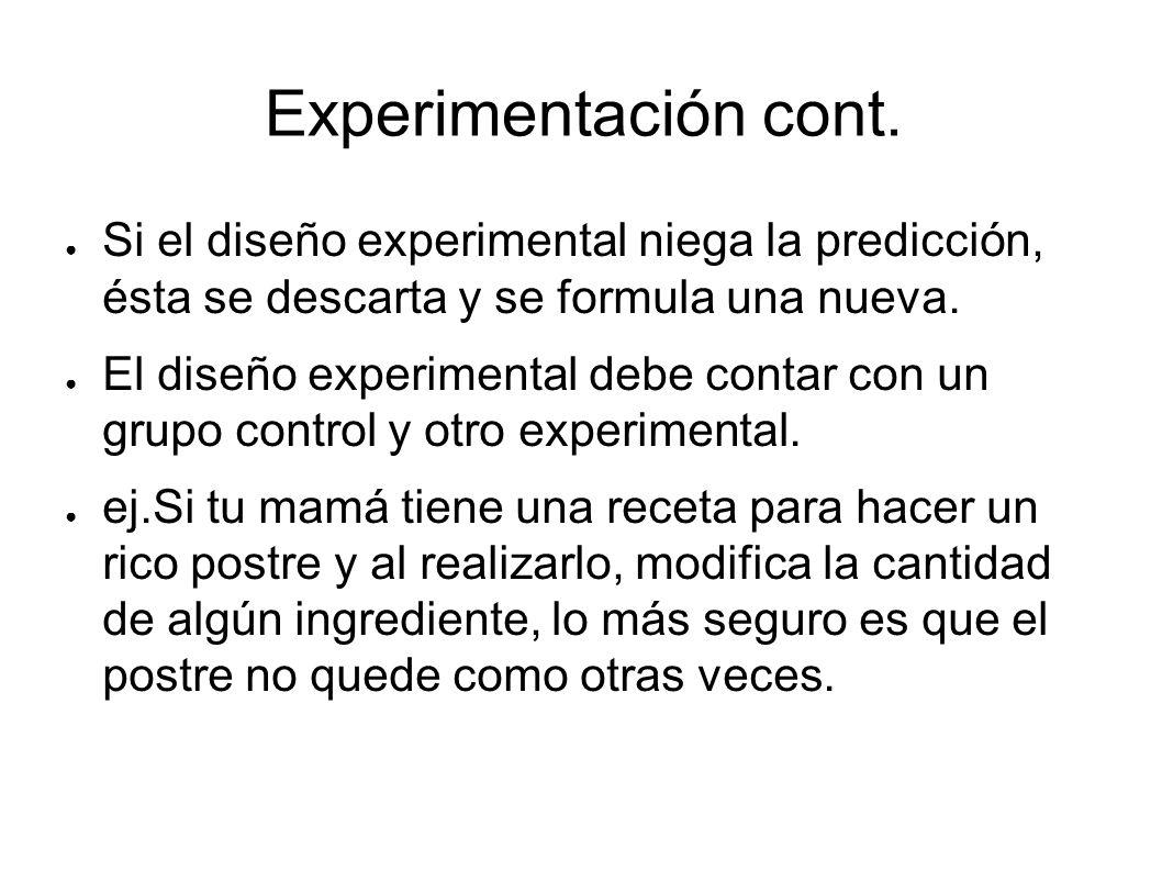 Si el diseño experimental niega la predicción, ésta se descarta y se formula una nueva. El diseño experimental debe contar con un grupo control y otro