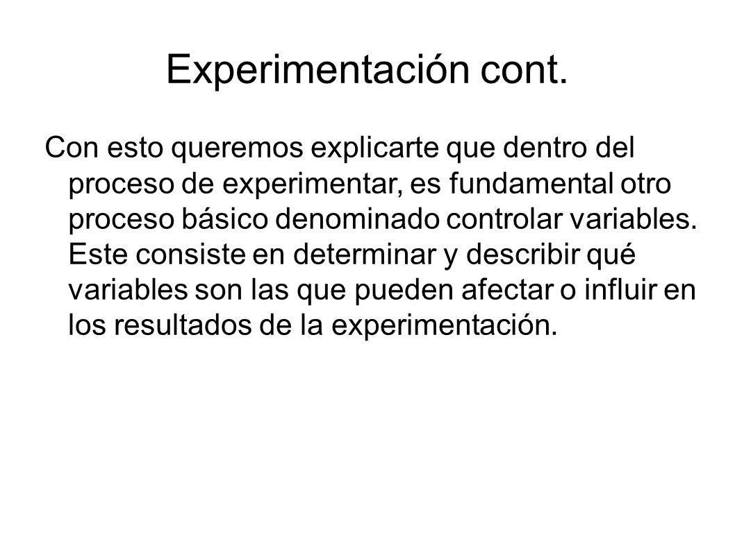 Experimentación cont. Con esto queremos explicarte que dentro del proceso de experimentar, es fundamental otro proceso básico denominado controlar var