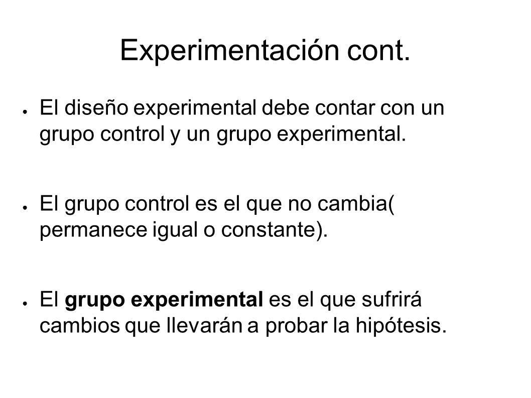 Experimentación cont. El diseño experimental debe contar con un grupo control y un grupo experimental. El grupo control es el que no cambia( permanece
