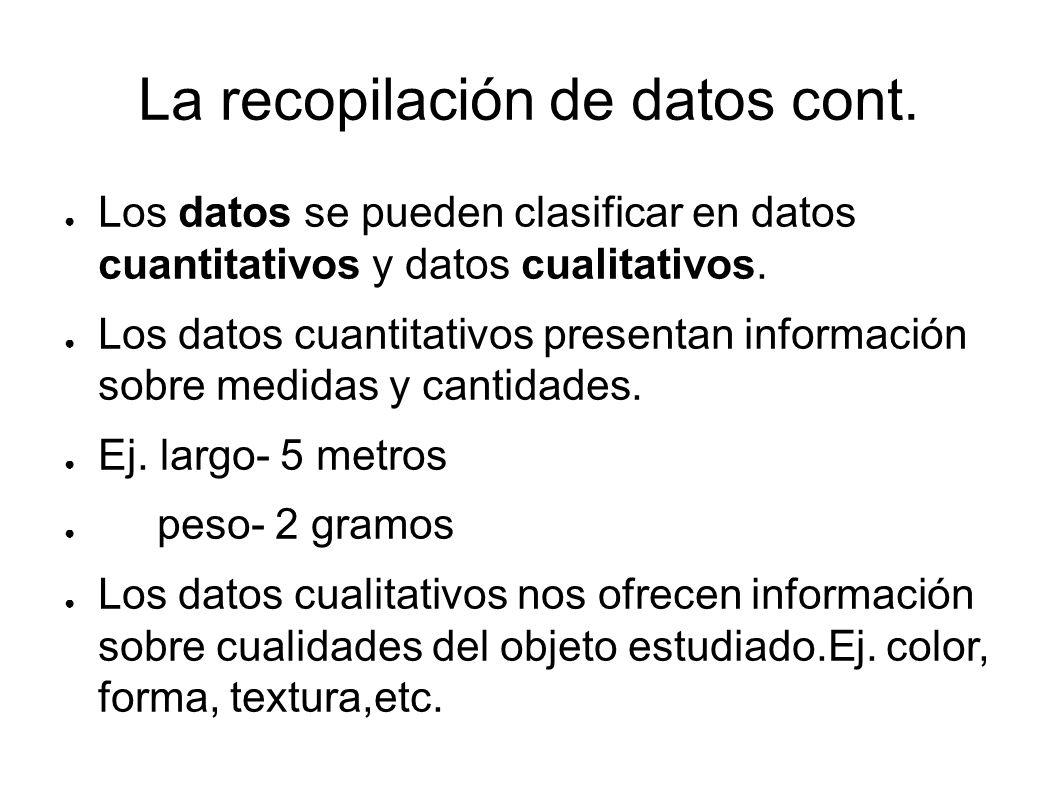 La recopilación de datos cont. Los datos se pueden clasificar en datos cuantitativos y datos cualitativos. Los datos cuantitativos presentan informaci