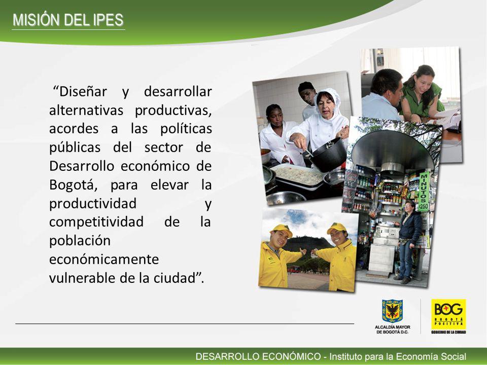 Diseñar y desarrollar alternativas productivas, acordes a las políticas públicas del sector de Desarrollo económico de Bogotá, para elevar la producti