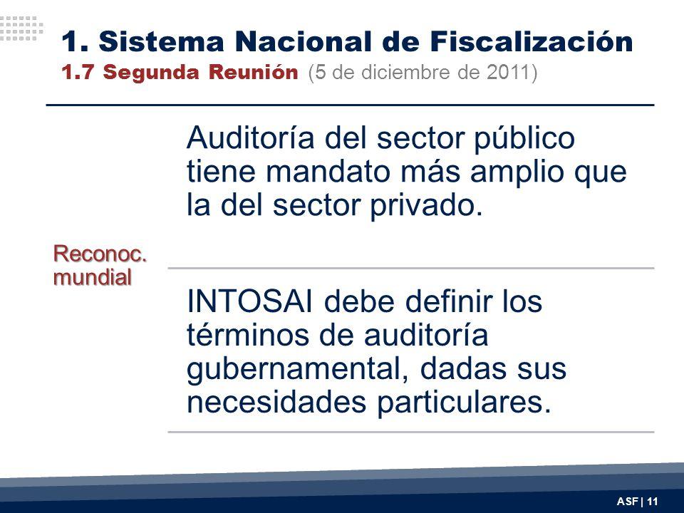 ASF | 11 Reconoc. mundial Auditoría del sector público tiene mandato más amplio que la del sector privado. INTOSAI debe definir los términos de audito