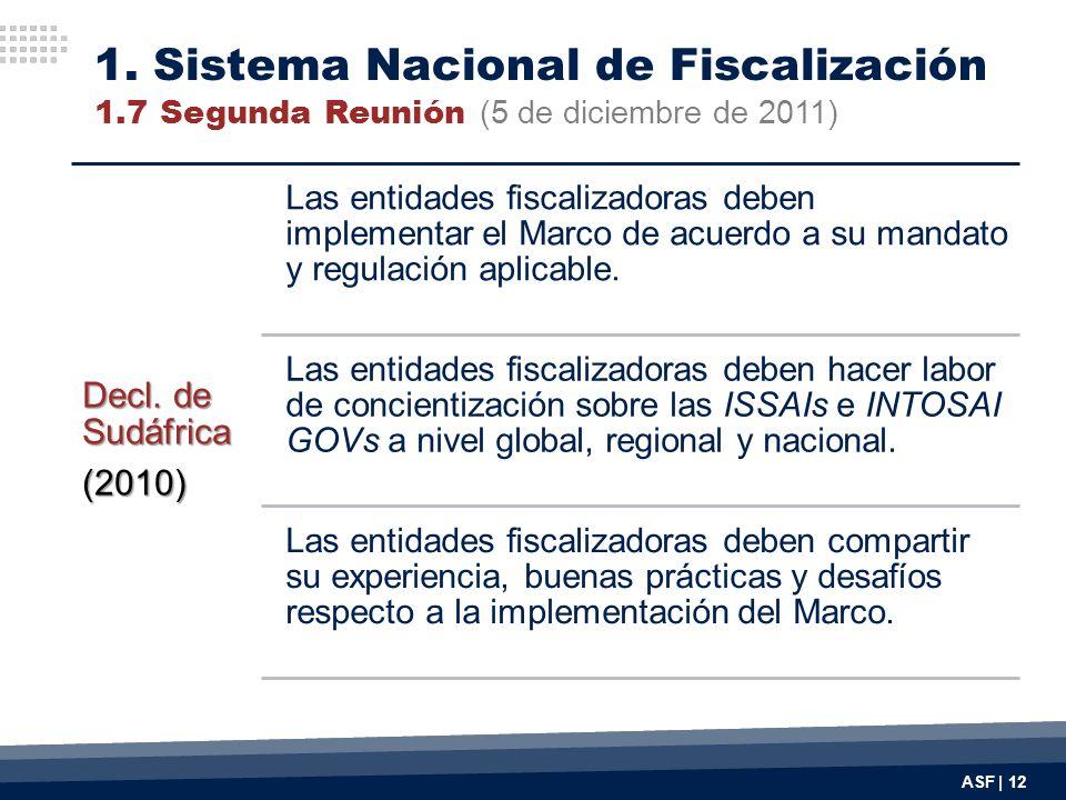 ASF | 12 Decl. de Sudáfrica (2010) Las entidades fiscalizadoras deben implementar el Marco de acuerdo a su mandato y regulación aplicable. Las entidad