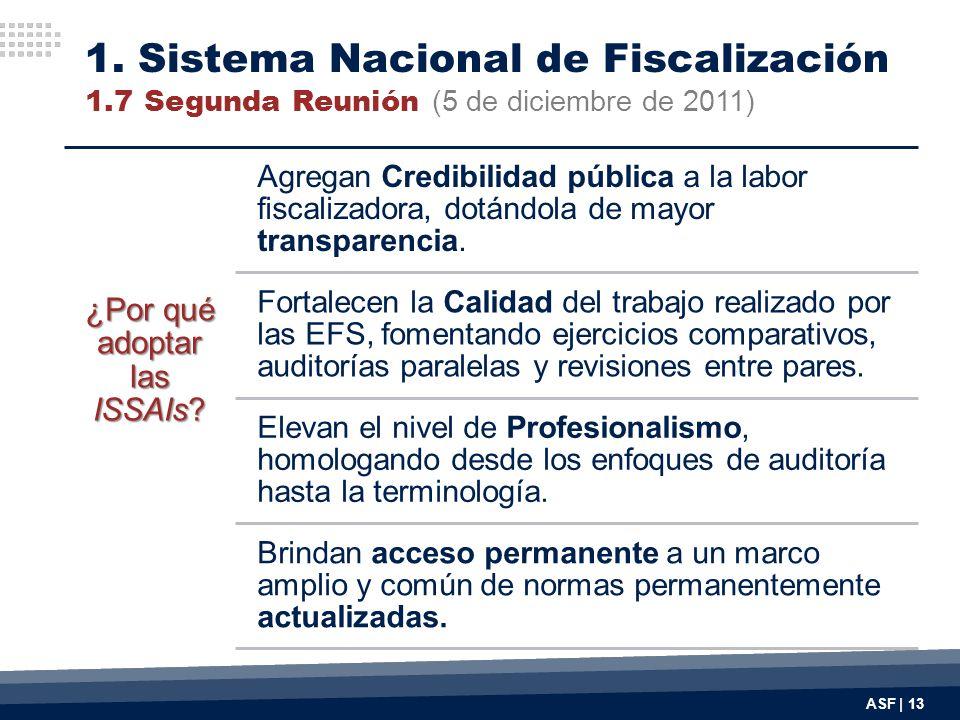 ASF | 13 ¿Por qué adoptar las ISSAIs? Agregan Credibilidad pública a la labor fiscalizadora, dotándola de mayor transparencia. Fortalecen la Calidad d