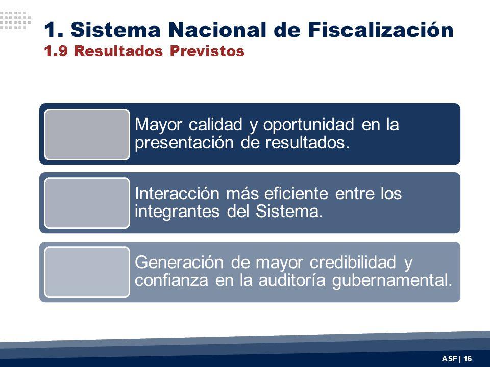 ASF | 16 Mayor calidad y oportunidad en la presentación de resultados. Interacción más eficiente entre los integrantes del Sistema. Generación de mayo