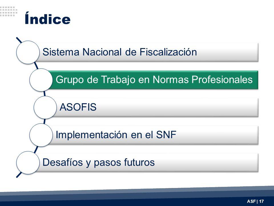 Índice ASF | 17 Sistema Nacional de Fiscalización Grupo de Trabajo en Normas Profesionales ASOFIS Implementación en el SNF Desafíos y pasos futuros