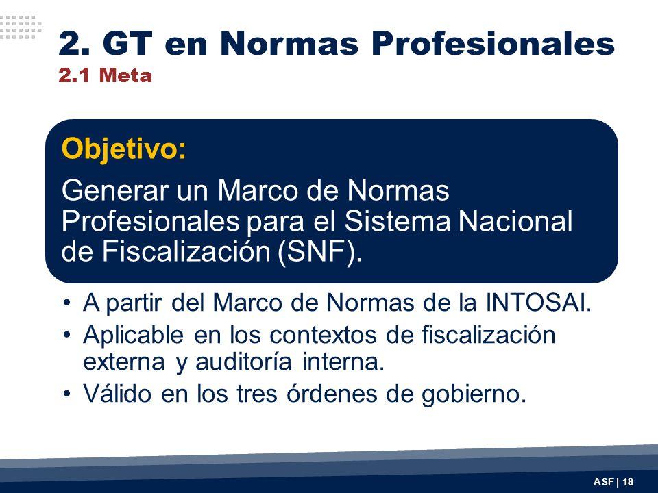 ASF | 18 Objetivo: Generar un Marco de Normas Profesionales para el Sistema Nacional de Fiscalización (SNF). A partir del Marco de Normas de la INTOSA