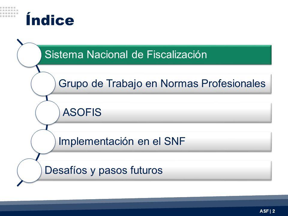 Índice ASF | 2 Sistema Nacional de Fiscalización Grupo de Trabajo en Normas Profesionales ASOFIS Implementación en el SNF Desafíos y pasos futuros