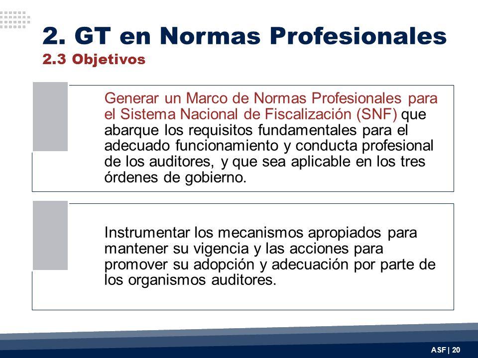 2. GT en Normas Profesionales 2.3 Objetivos ASF | 20 Generar un Marco de Normas Profesionales para el Sistema Nacional de Fiscalización (SNF) que abar