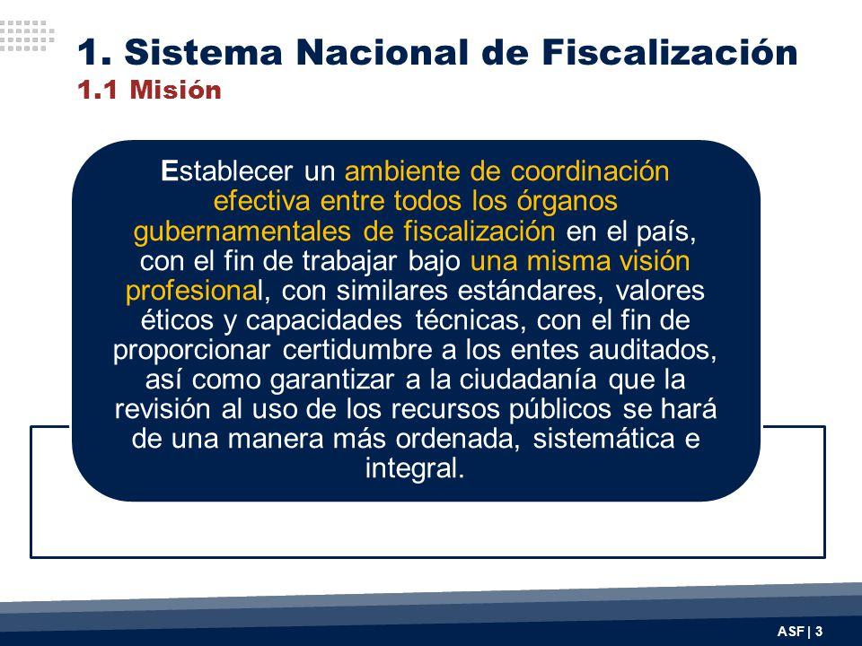 ASF | 3 1. Sistema Nacional de Fiscalización 1.1 Misión Establecer un ambiente de coordinación efectiva entre todos los órganos gubernamentales de fis