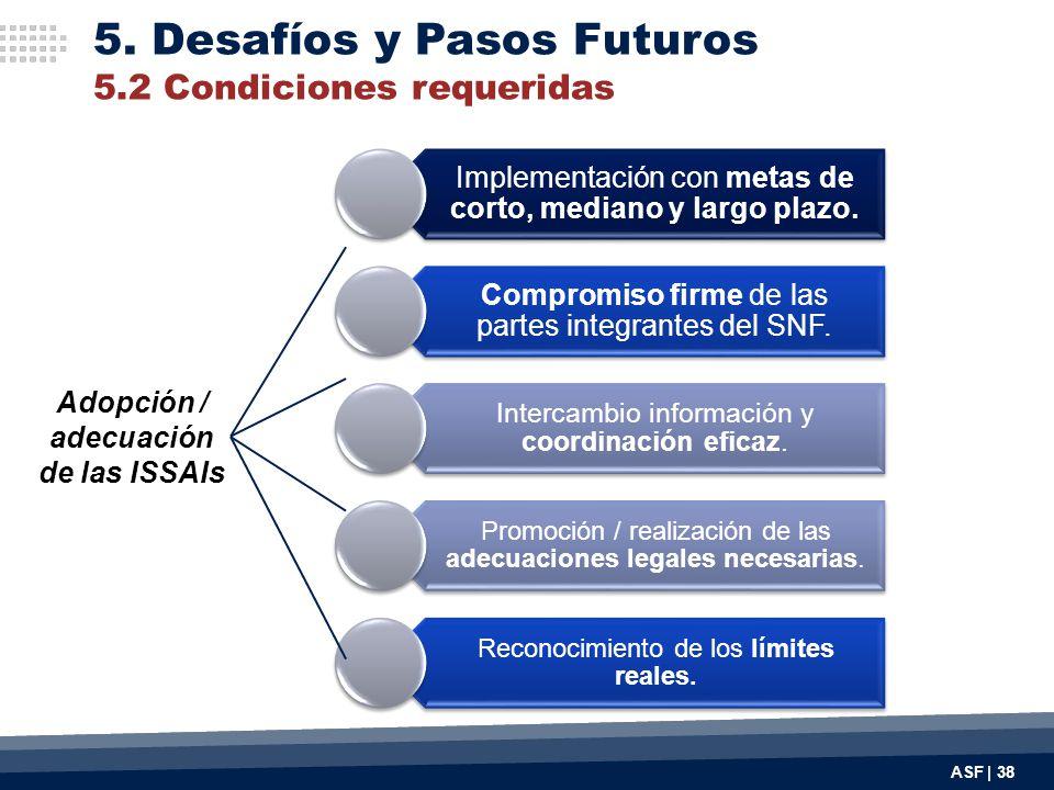 Implementación con metas de corto, mediano y largo plazo. Compromiso firme de las partes integrantes del SNF. Intercambio información y coordinación e