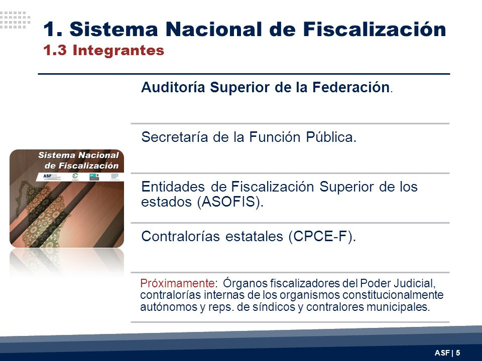 ASF | 5 Auditoría Superior de la Federación. Secretaría de la Función Pública. Entidades de Fiscalización Superior de los estados (ASOFIS). Contralorí
