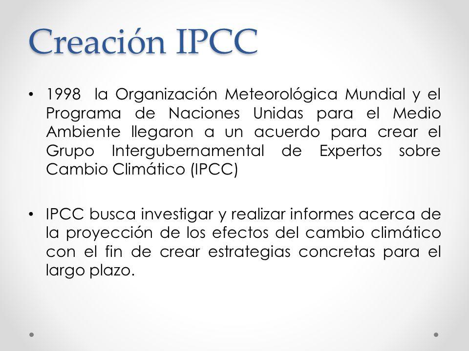 Creación IPCC 1998 la Organización Meteorológica Mundial y el Programa de Naciones Unidas para el Medio Ambiente llegaron a un acuerdo para crear el G