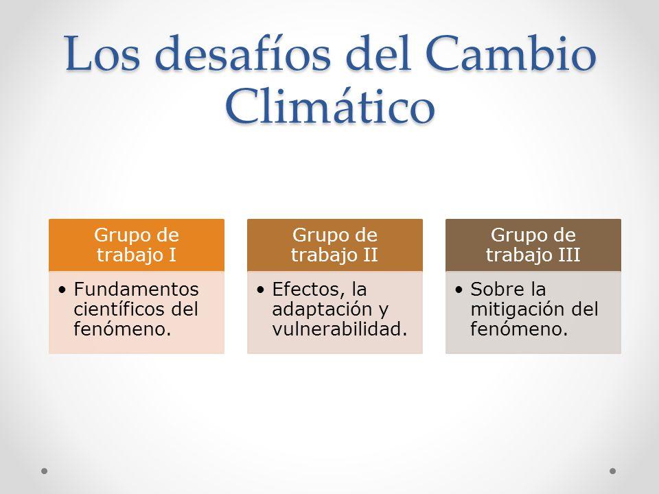 Los desafíos del Cambio Climático Grupo de trabajo I Fundamentos científicos del fenómeno. Grupo de trabajo II Efectos, la adaptación y vulnerabilidad