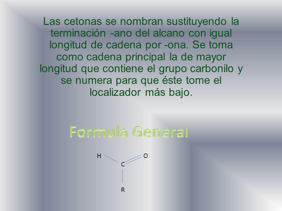 Las cetonas se nombran sustituyendo la terminación -ano del alcano con igual longitud de cadena por -ona.