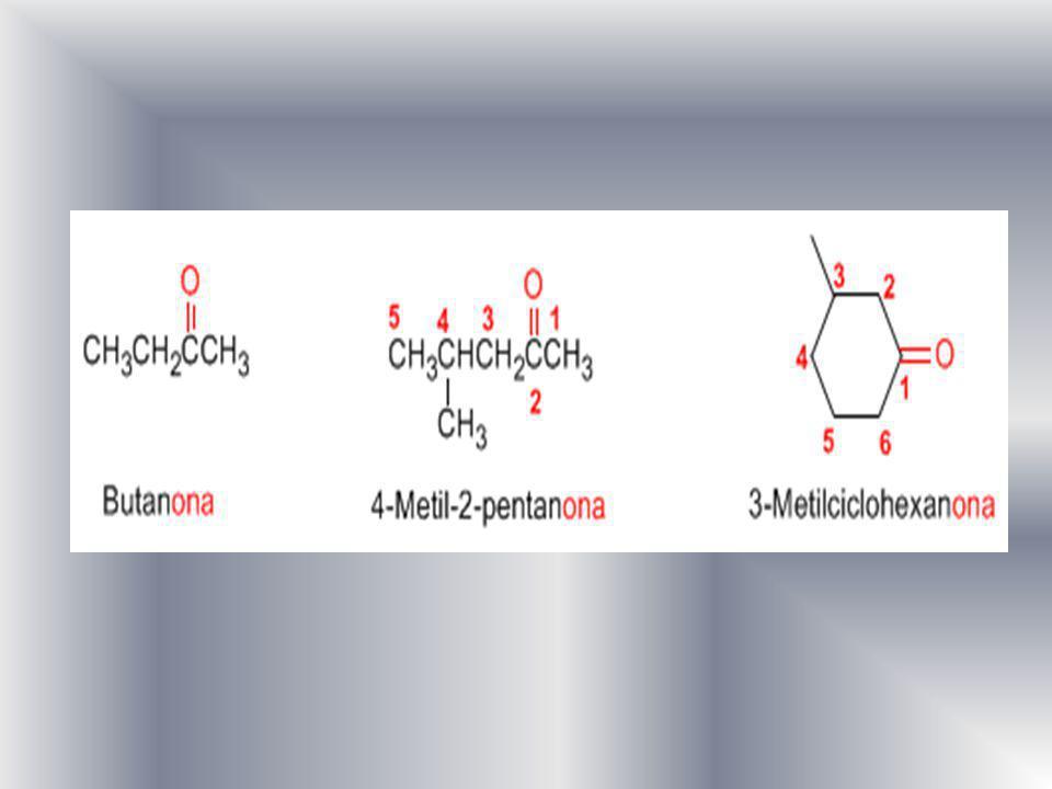 Existe un segundo tipo de nomenclatura para las cetonas, que consiste en nombrar las cadenas como sustituyentes, ordenándolas alfabéticamente y terminando el nombre con la palabra cetona.