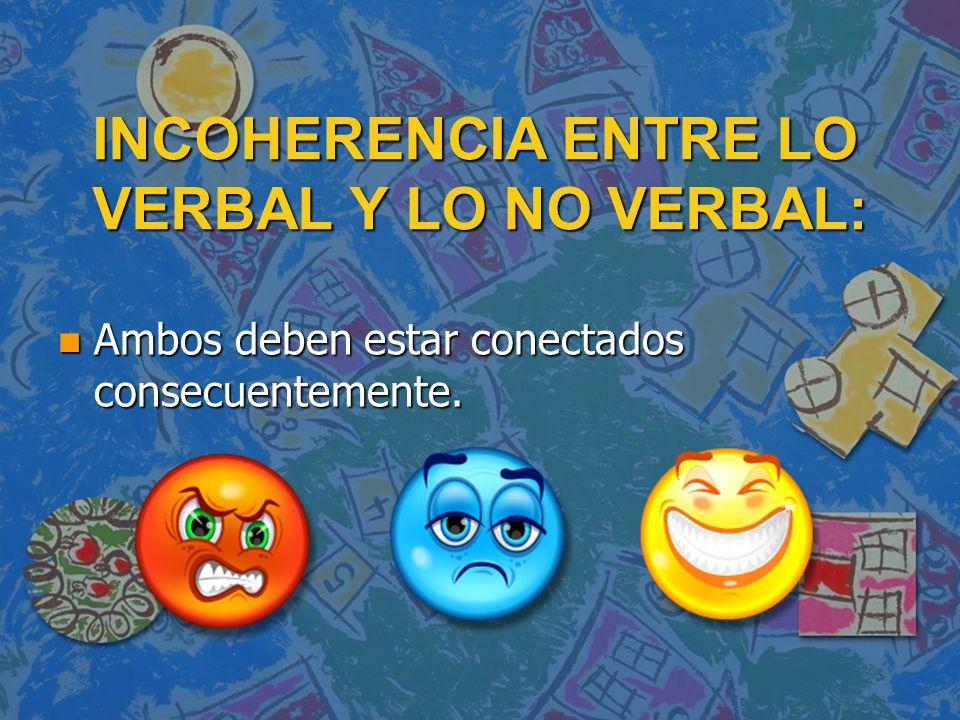 INCOHERENCIA ENTRE LO VERBAL Y LO NO VERBAL: n Ambos deben estar conectados consecuentemente.