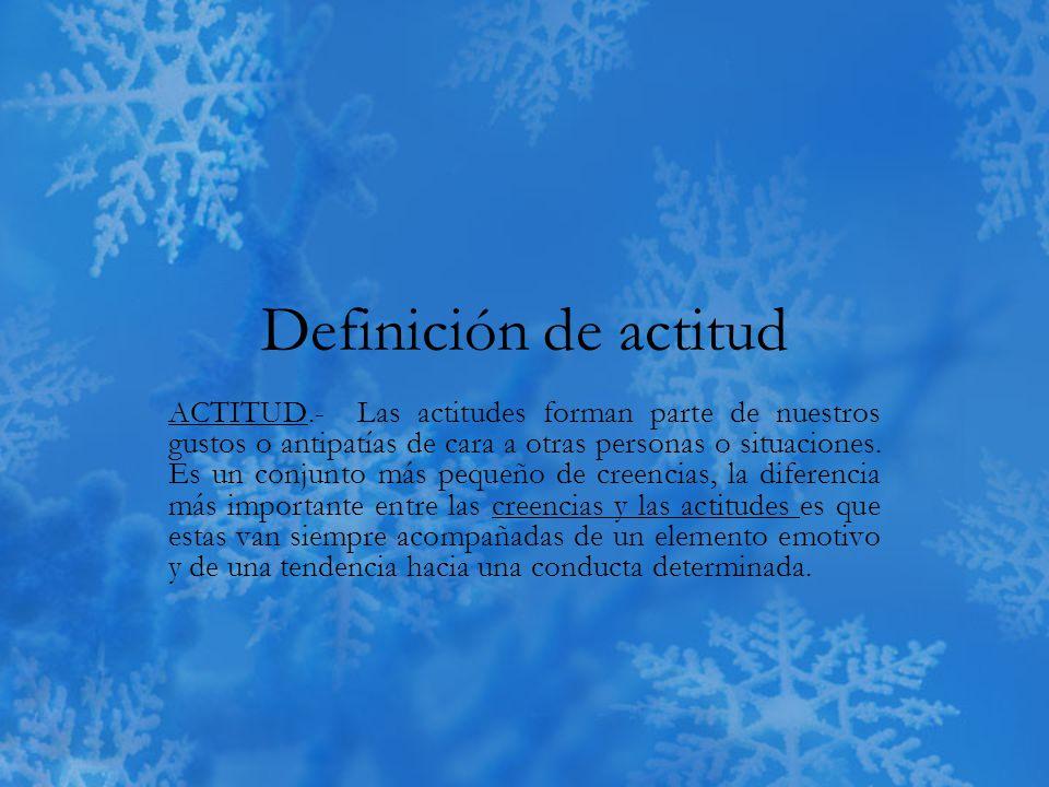 Definición de actitud ACTITUD.- Las actitudes forman parte de nuestros gustos o antipatías de cara a otras personas o situaciones.