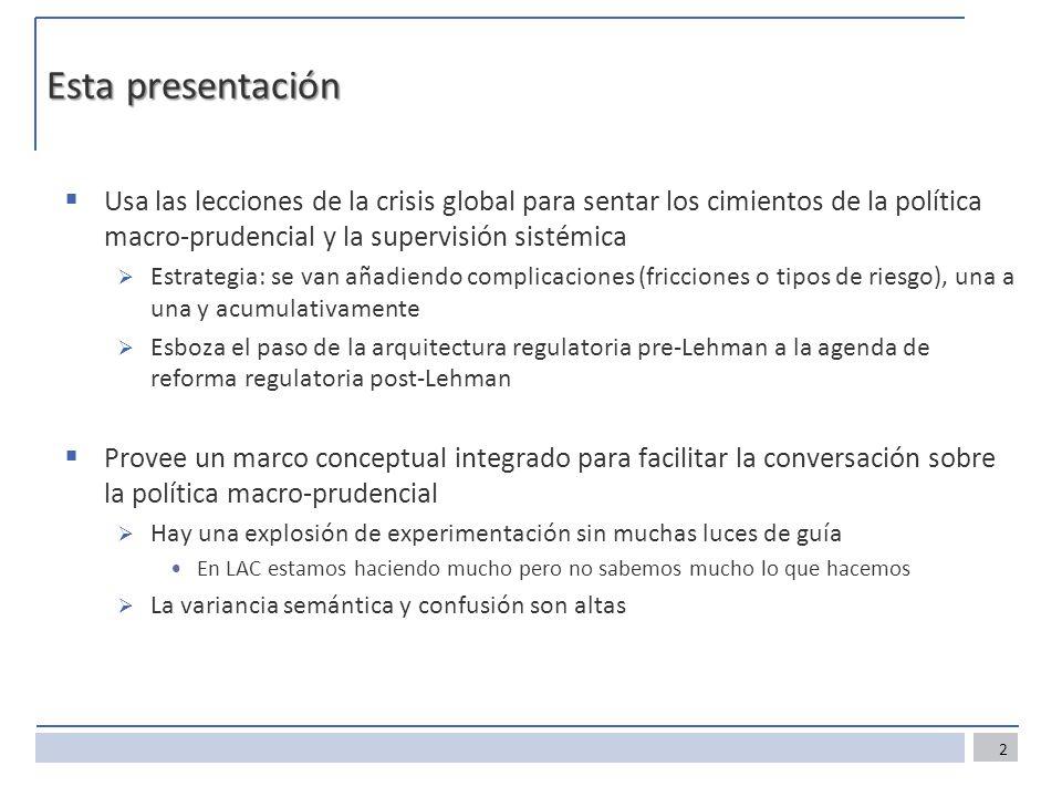 Esta presentación Usa las lecciones de la crisis global para sentar los cimientos de la política macro-prudencial y la supervisión sistémica Estrategi