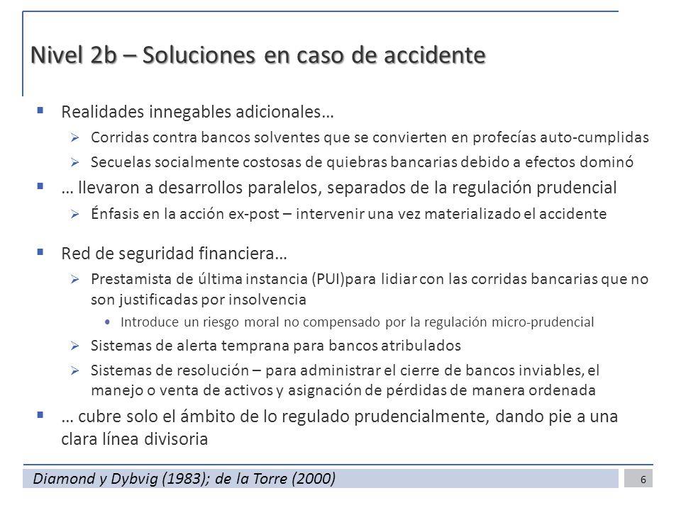 Nivel 2b – Soluciones en caso de accidente Realidades innegables adicionales… Corridas contra bancos solventes que se convierten en profecías auto-cum