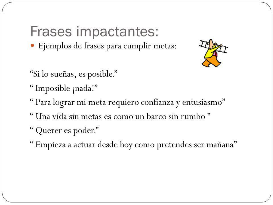 Frases impactantes: Ejemplos de frases para cumplir metas: Si lo sueñas, es posible.