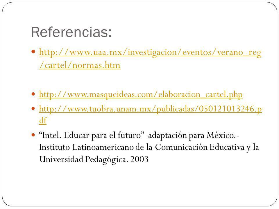 Referencias: http://www.uaa.mx/investigacion/eventos/verano_reg /cartel/normas.htm http://www.uaa.mx/investigacion/eventos/verano_reg /cartel/normas.htm http://www.masqueideas.com/elaboracion_cartel.php http://www.tuobra.unam.mx/publicadas/050121013246.p df http://www.tuobra.unam.mx/publicadas/050121013246.p df Intel.