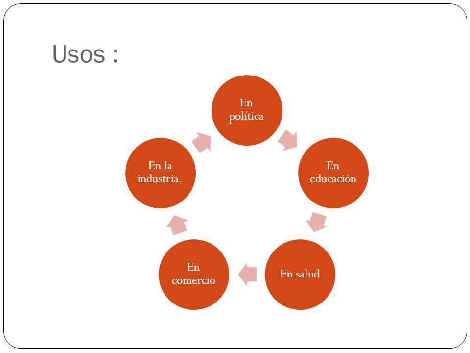 Usos : En política En educación En salud En comercio En la industria.