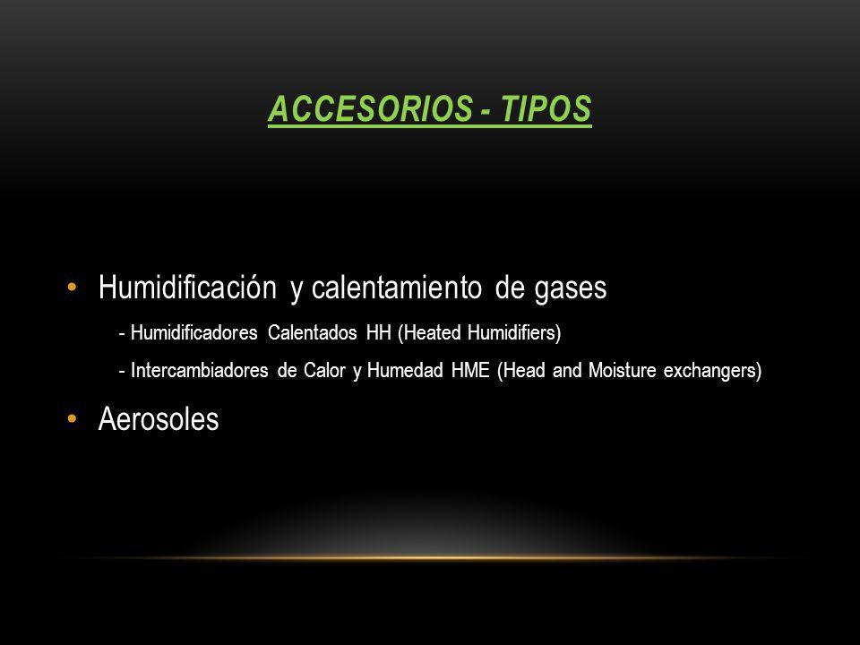 ACCESORIOS - TIPOS Humidificación y calentamiento de gases - Humidificadores Calentados HH (Heated Humidifiers) - Intercambiadores de Calor y Humedad HME (Head and Moisture exchangers) Aerosoles