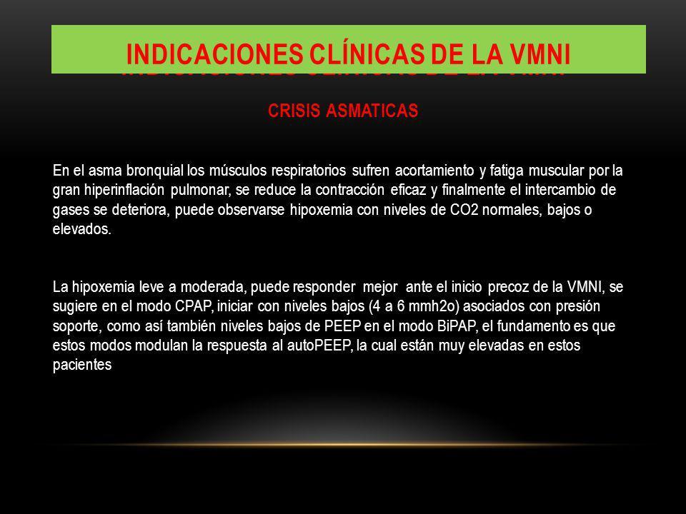 INDICACIONES CLÍNICAS DE LA VMNI CRISIS ASMATICAS En el asma bronquial los músculos respiratorios sufren acortamiento y fatiga muscular por la gran hi