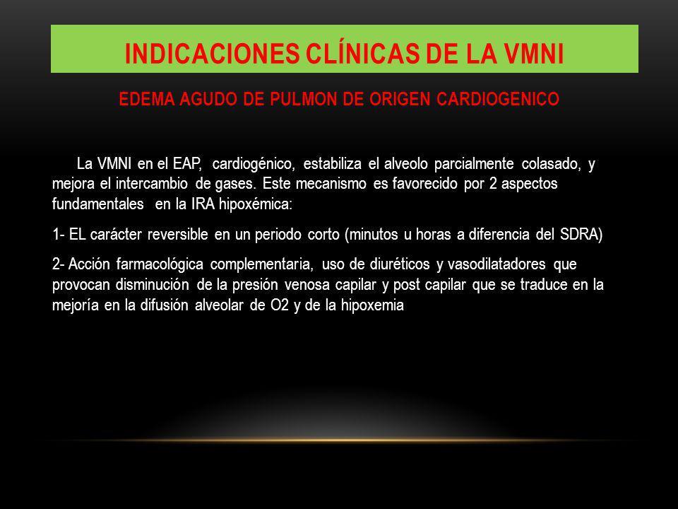 EDEMA AGUDO DE PULMON DE ORIGEN CARDIOGENICO La VMNI en el EAP, cardiogénico, estabiliza el alveolo parcialmente colasado, y mejora el intercambio de gases.