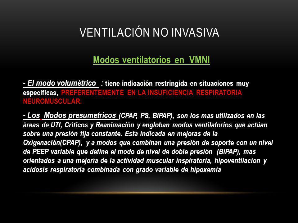 VENTILACIÓN NO INVASIVA Modos ventilatorios en VMNI - El modo volumétrico - El modo volumétrico : tiene indicación restringida en situaciones muy especificas, PREFERENTEMENTE EN LA INSUFICIENCIA RESPIRATORIA NEUROMUSCULAR.